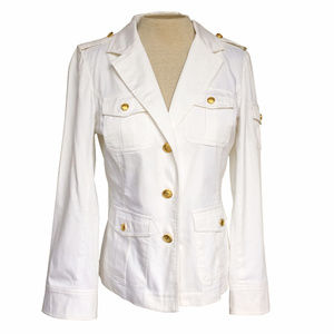 Lennie Nina Leonard White Gold Military Jacket 8